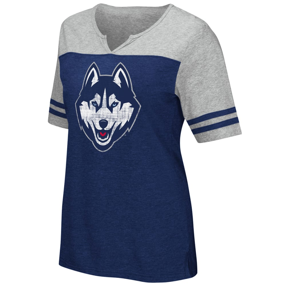 Uconn Women's On A Break V-Neck Short-Sleeve Tee - Blue, L