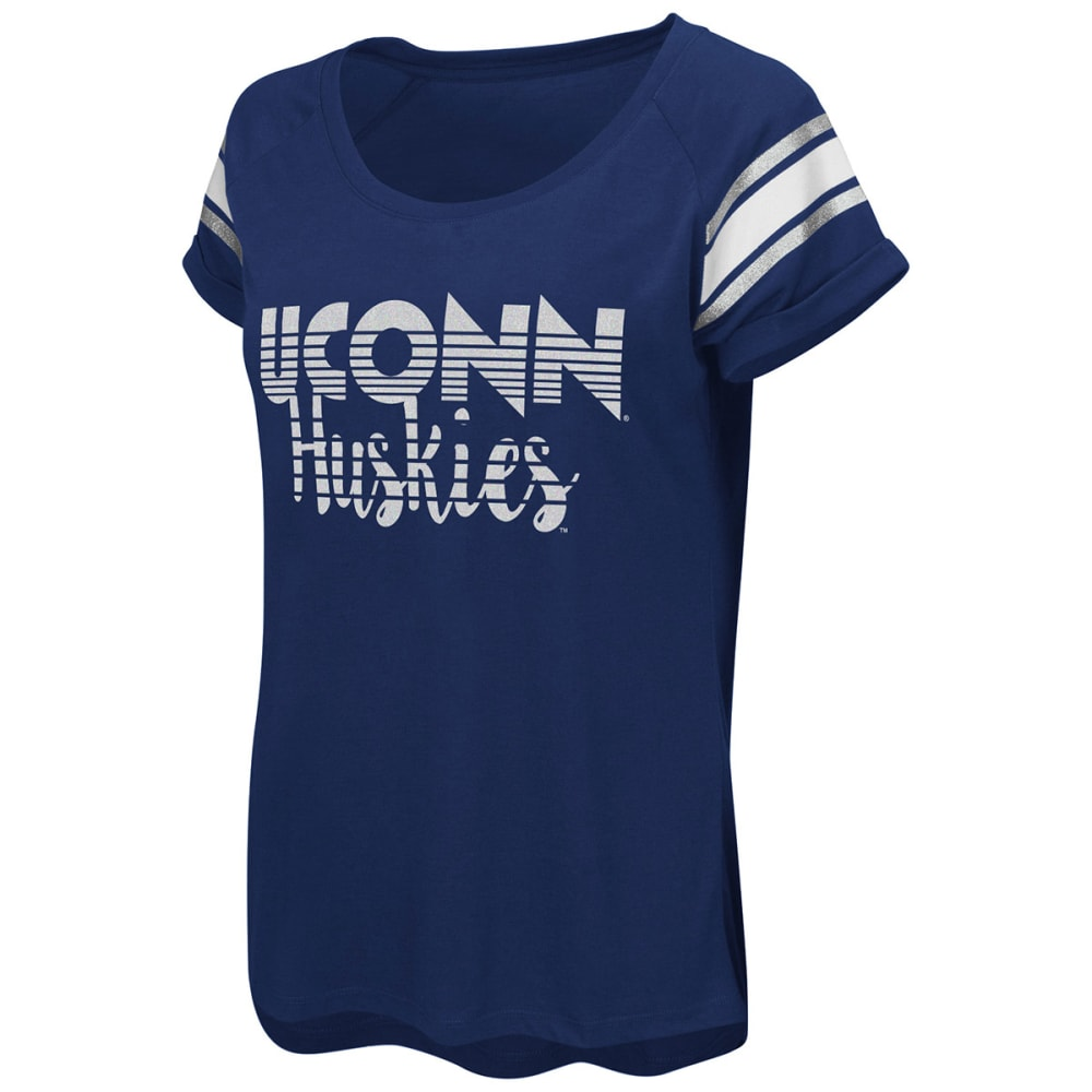Uconn Women's Karate Cuffed Raglan Short-Sleeve Tee - Blue, M