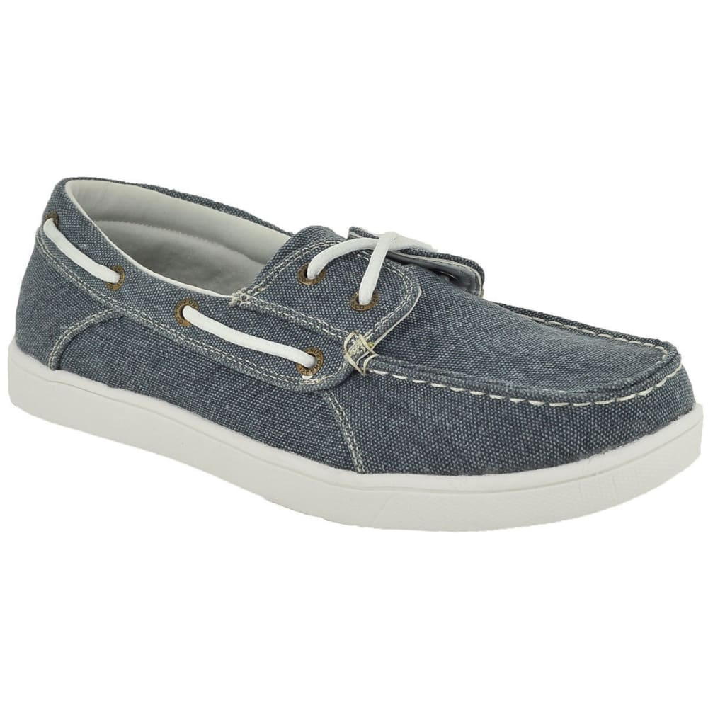 ISLAND SURF Men's Nantucket Waxed Linen Boat Shoes, Navy - NAVY