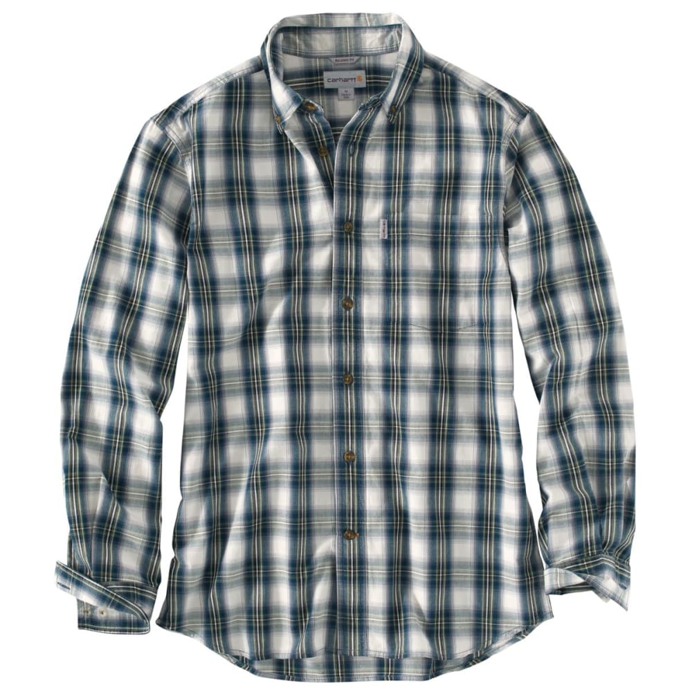 CARHARTT Essentail Plaid Button Down Long-Sleeve Shirt, Extended Sizes - NAVY