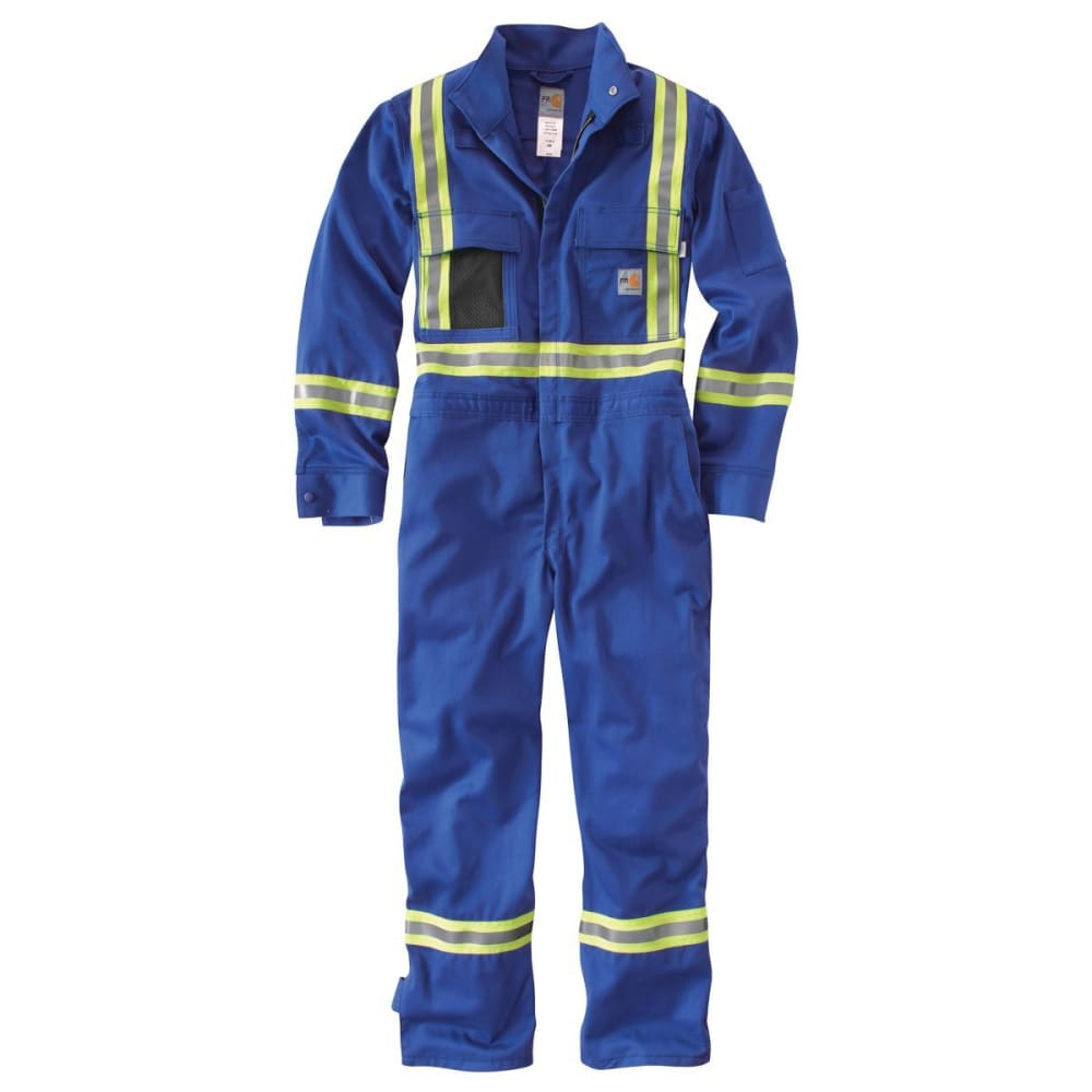 CARHARTT Flame-Resistant Striped Coverall, Extended Sizes - ROYAL