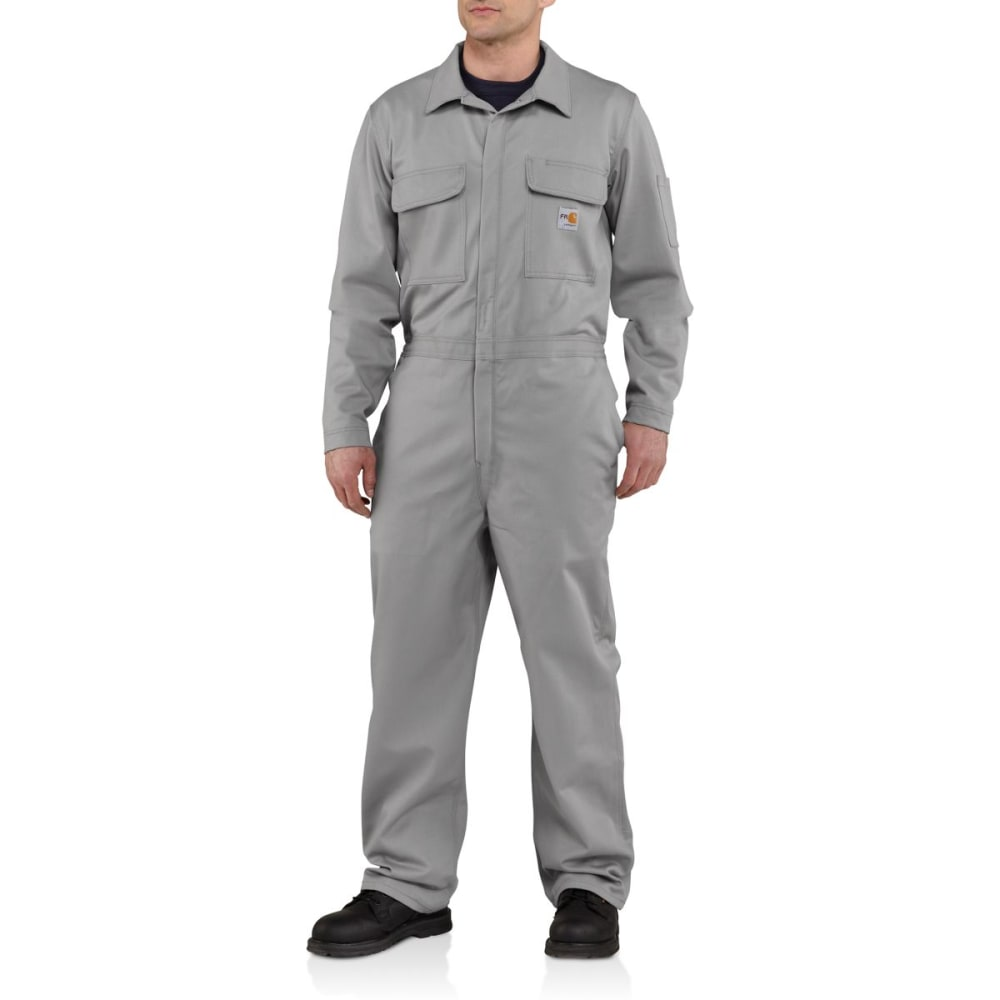 CARHARTT Flame-Resistant Traditional Twill Coverall, Extended Sizes - GRAY