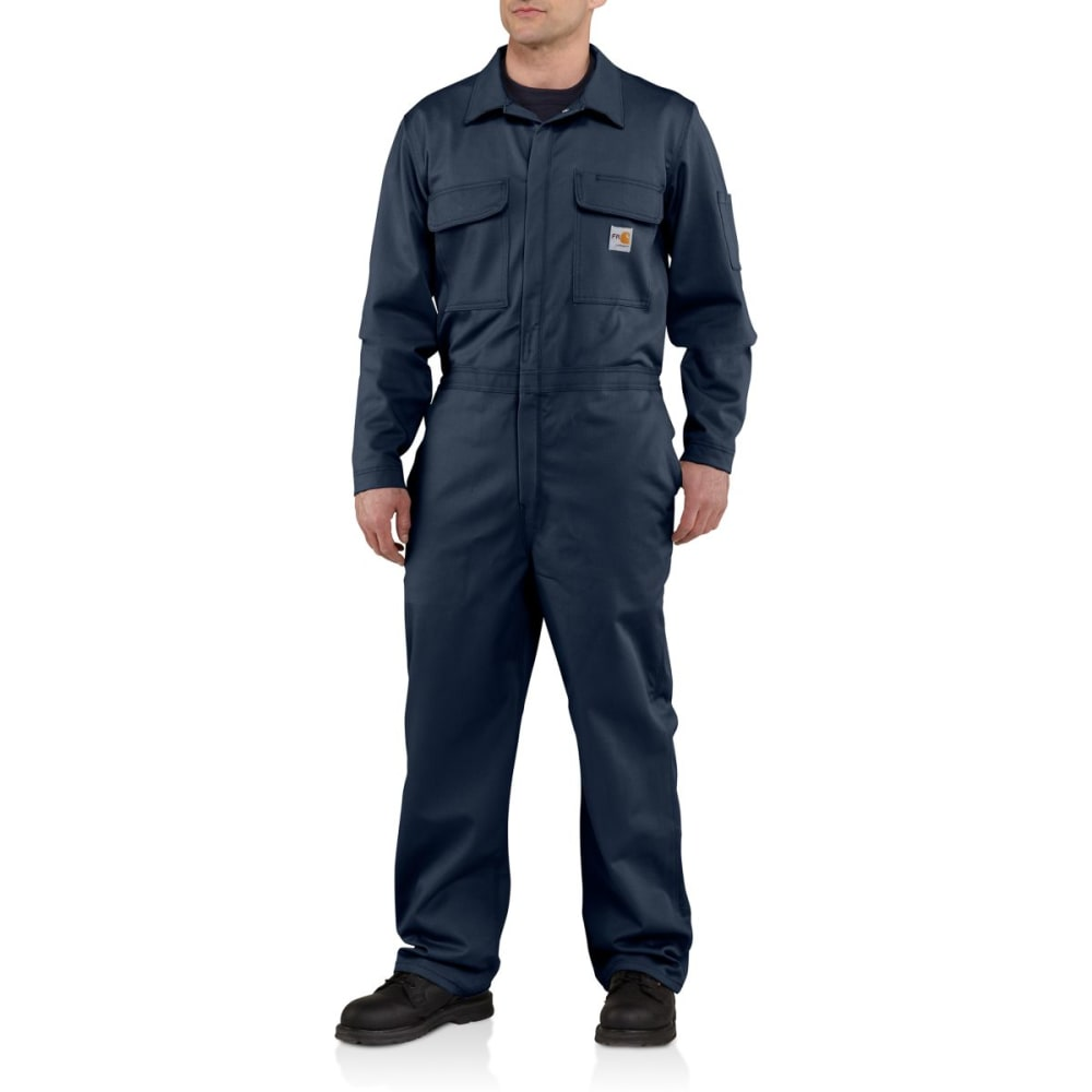 Carhartt Flame-Resistant Traditional Twill Coverall, Extended Sizes - Blue, 54/R