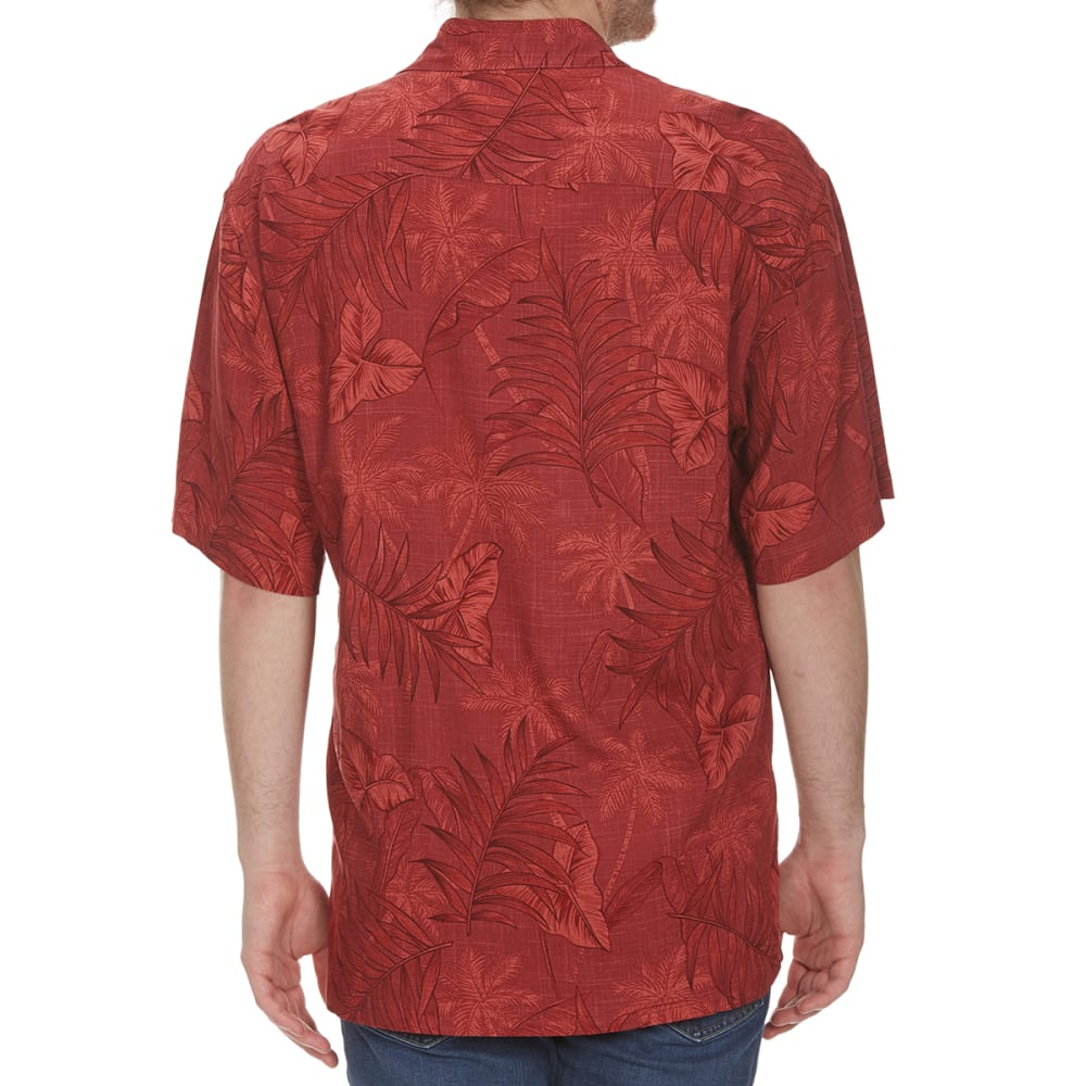 CAMPIA MODA Men's Tropical Palm Trees Woven Short-Sleeve Shirt - RED
