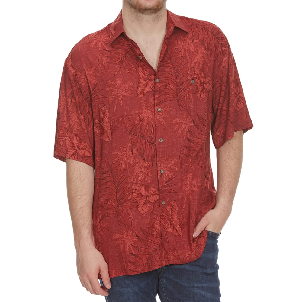 Campia Moda Men's Tropical Palm Trees Woven Short-Sleeve Shirt - Red, M