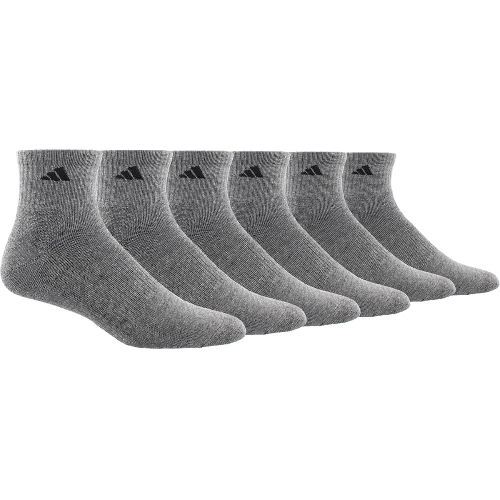 Adidas Men's Athletic Quarter Socks, 6 Pack - Black, L