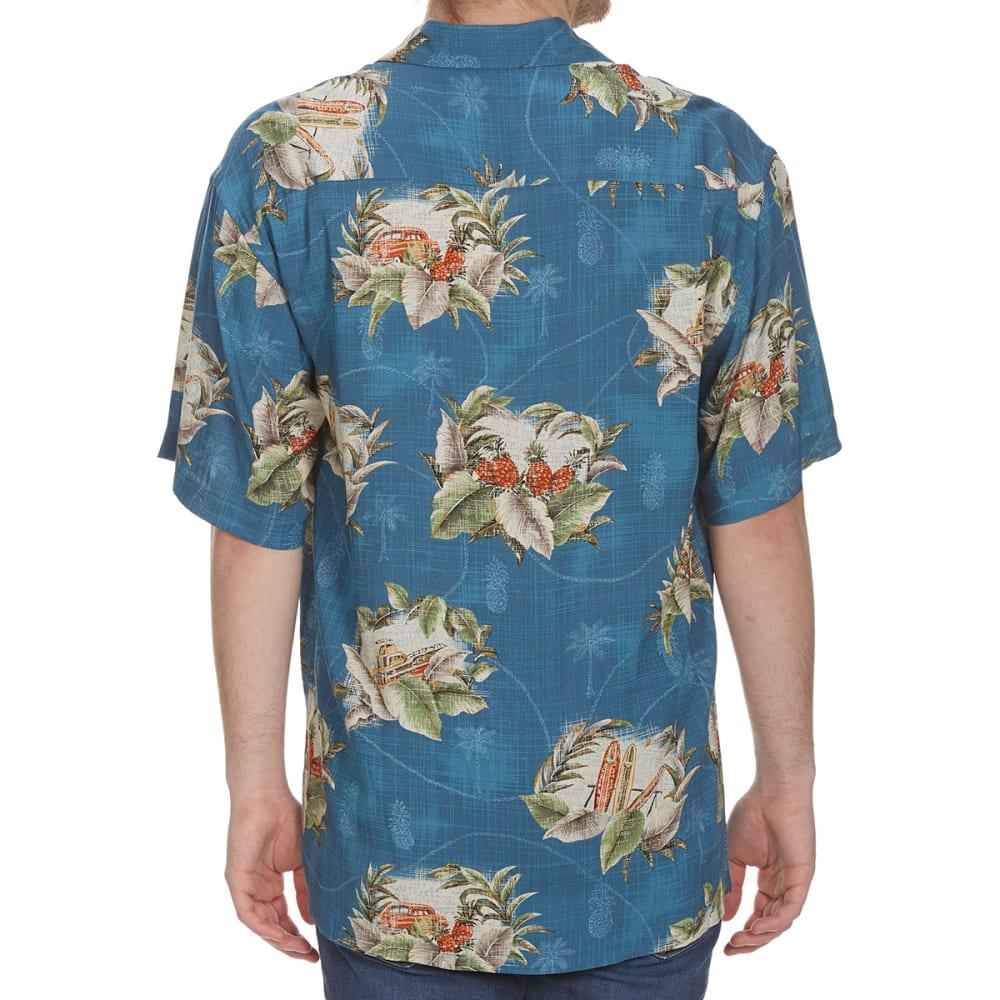CAMPIA MODA Men's Tropical Postage Woven Short-Sleeve Shirt - TEAL