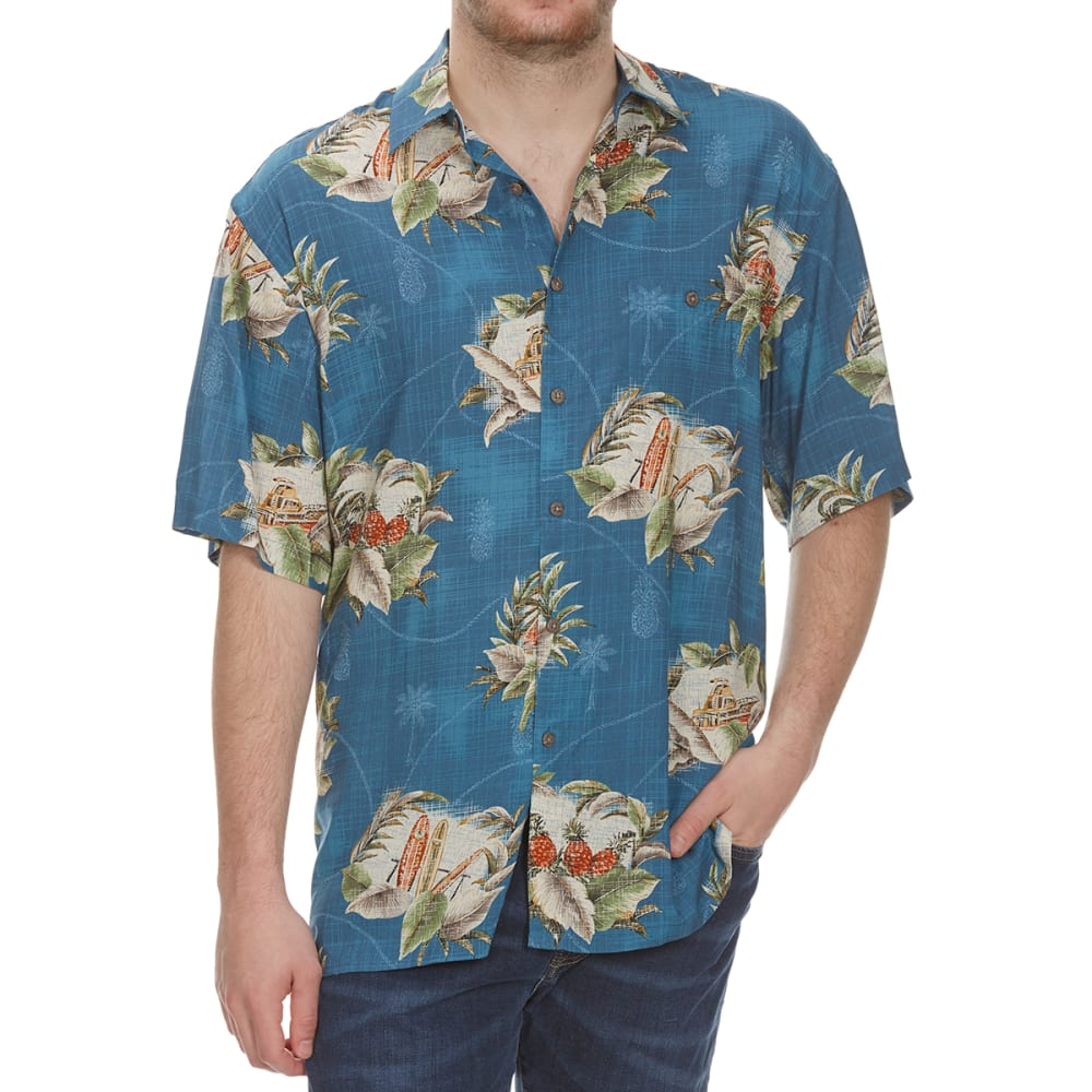 CAMPIA MODA Men's Tropical Postage Woven Short-Sleeve Shirt - TEAL