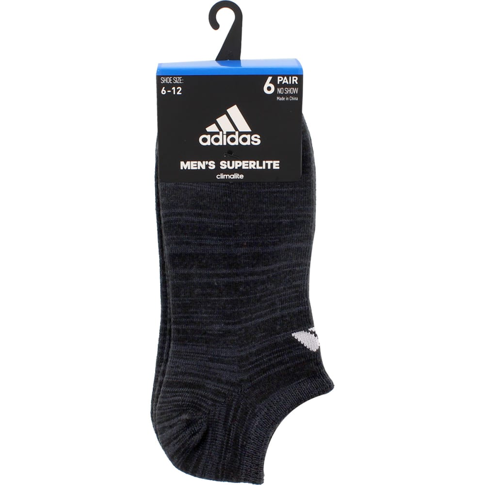 ADIDAS Men's No Show Superlite Socks, 6 Pack - BLACK/NIGHT GREY
