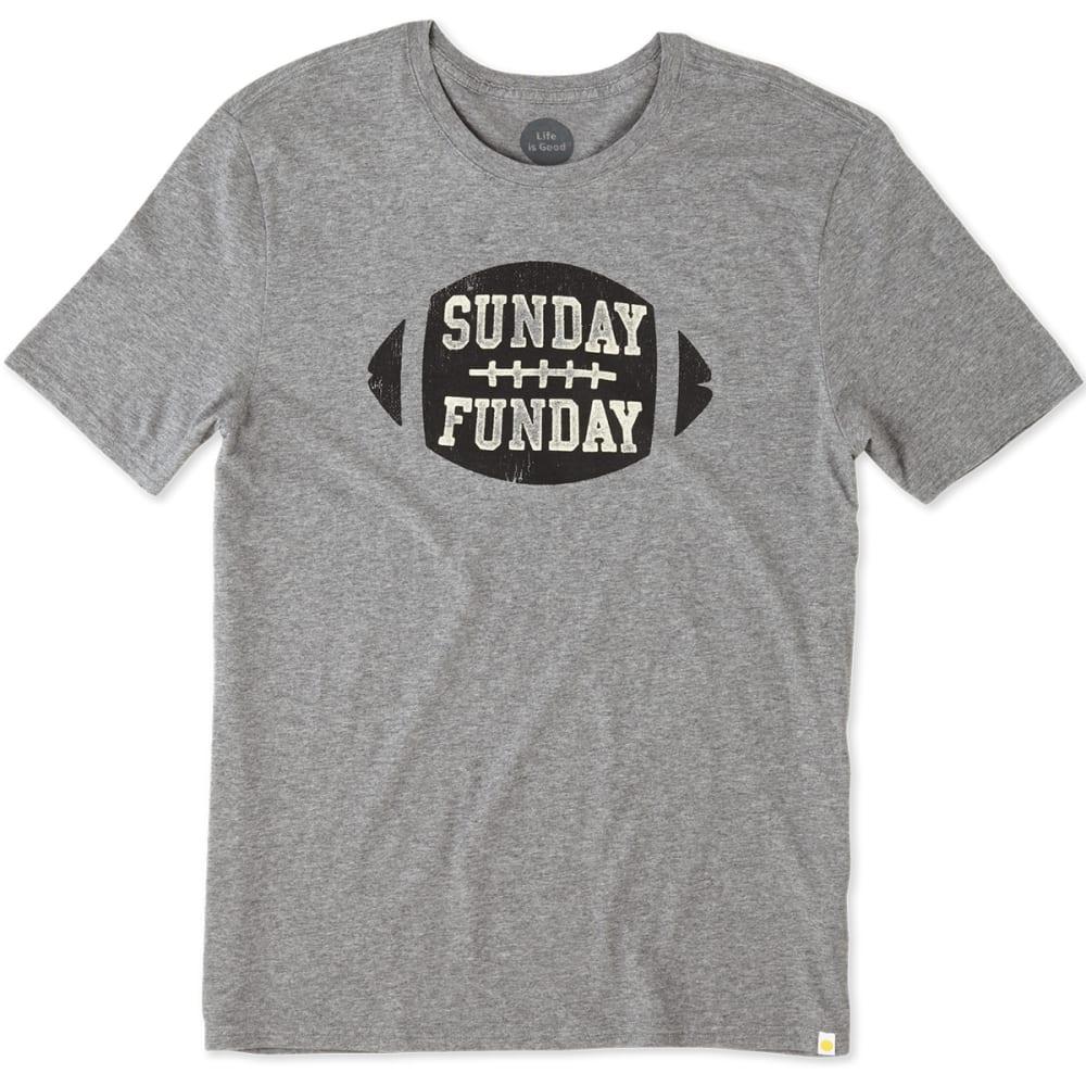 LIFE IS GOOD Men's Sunday Funday Football Smooth Tee - HEATHER GREY