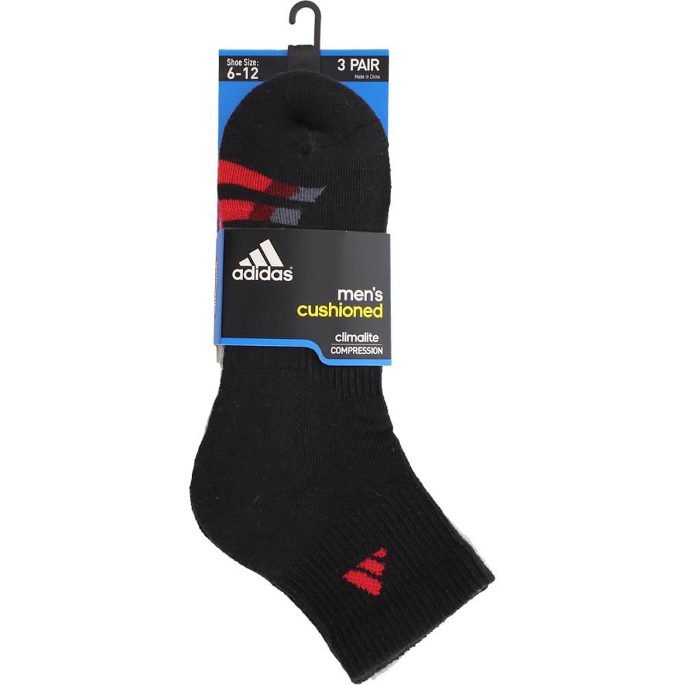 ADIDAS Men's Cushion Quarter Socks, 3 Pack - BLACK/GRY