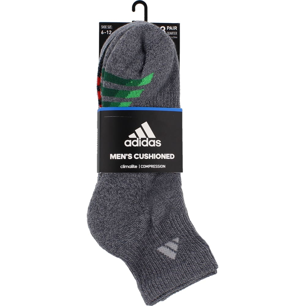 ADIDAS Men's Cushion Quarter Socks, 3 Pack - ONIX/BLK