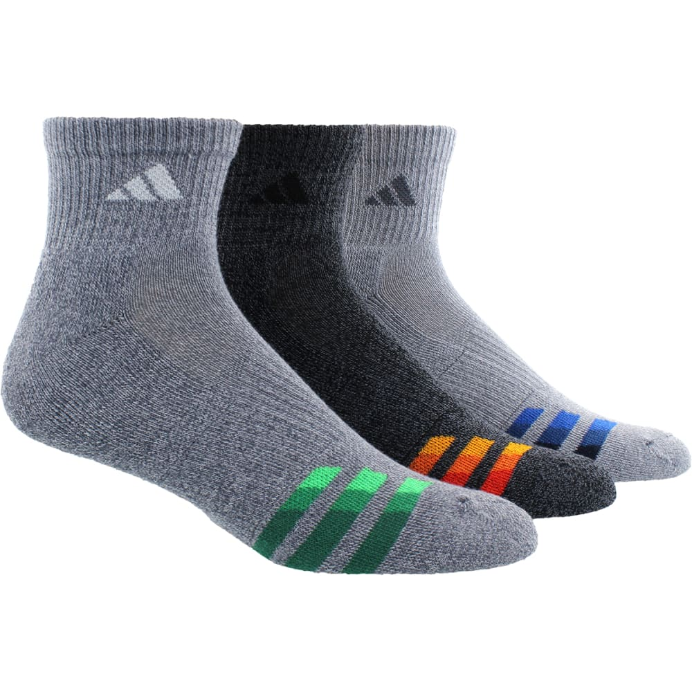 ADIDAS Men's Cushion Quarter Socks, 3 Pack - ONIX/BLK