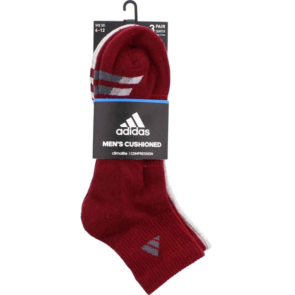 ADIDAS Men's Cushion Quarter Socks, 3 Pack - BURG/GREY