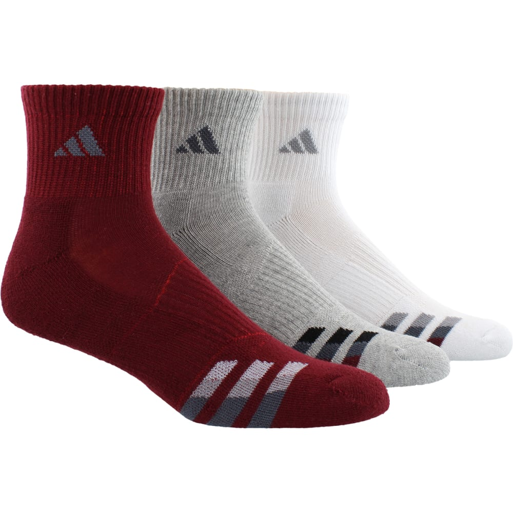 ADIDAS Men's Cushion Quarter Socks, 3 Pack - BURG/GREY