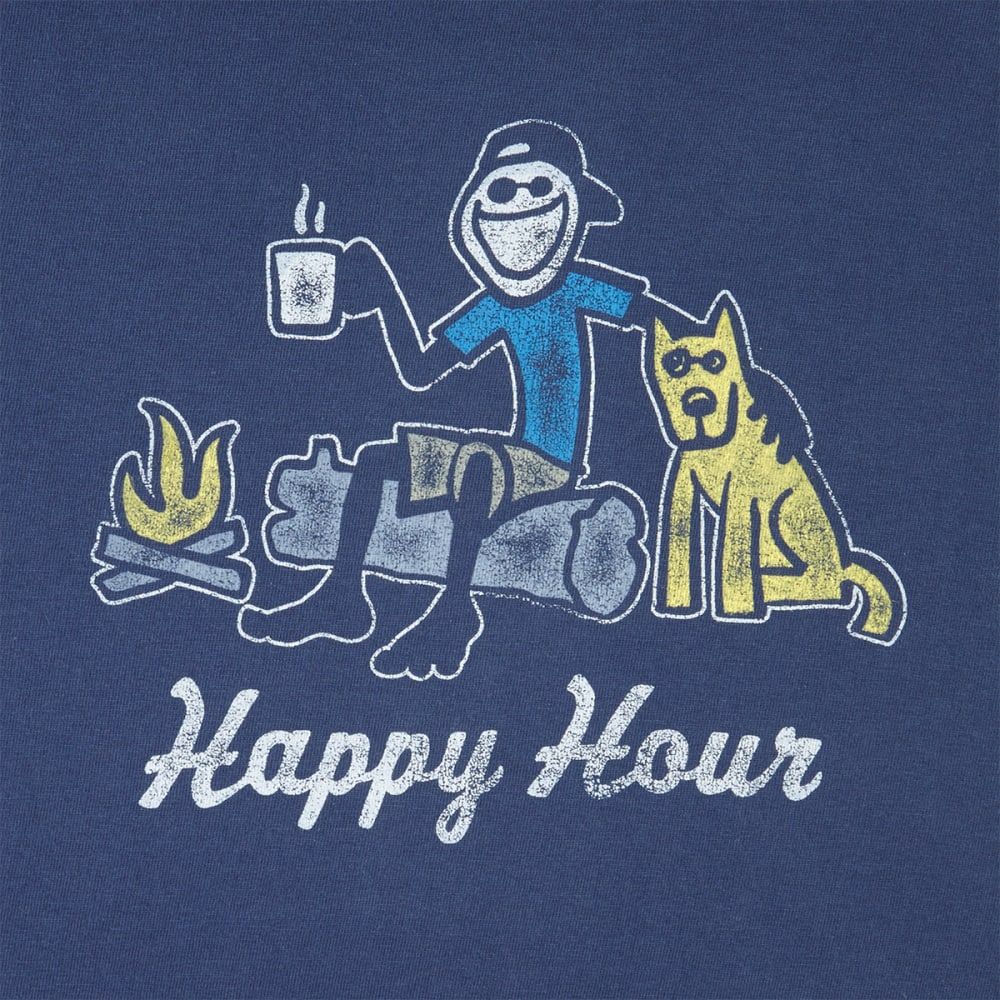 LIFE IS GOOD Men's Happy Hour Campfire Crusher Short-Sleeve Tee - DARKEST BLUE