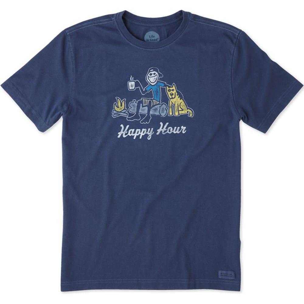 LIFE IS GOOD Men's Happy Hour Campfire Crusher Short-Sleeve Tee - DARKEST BLUE