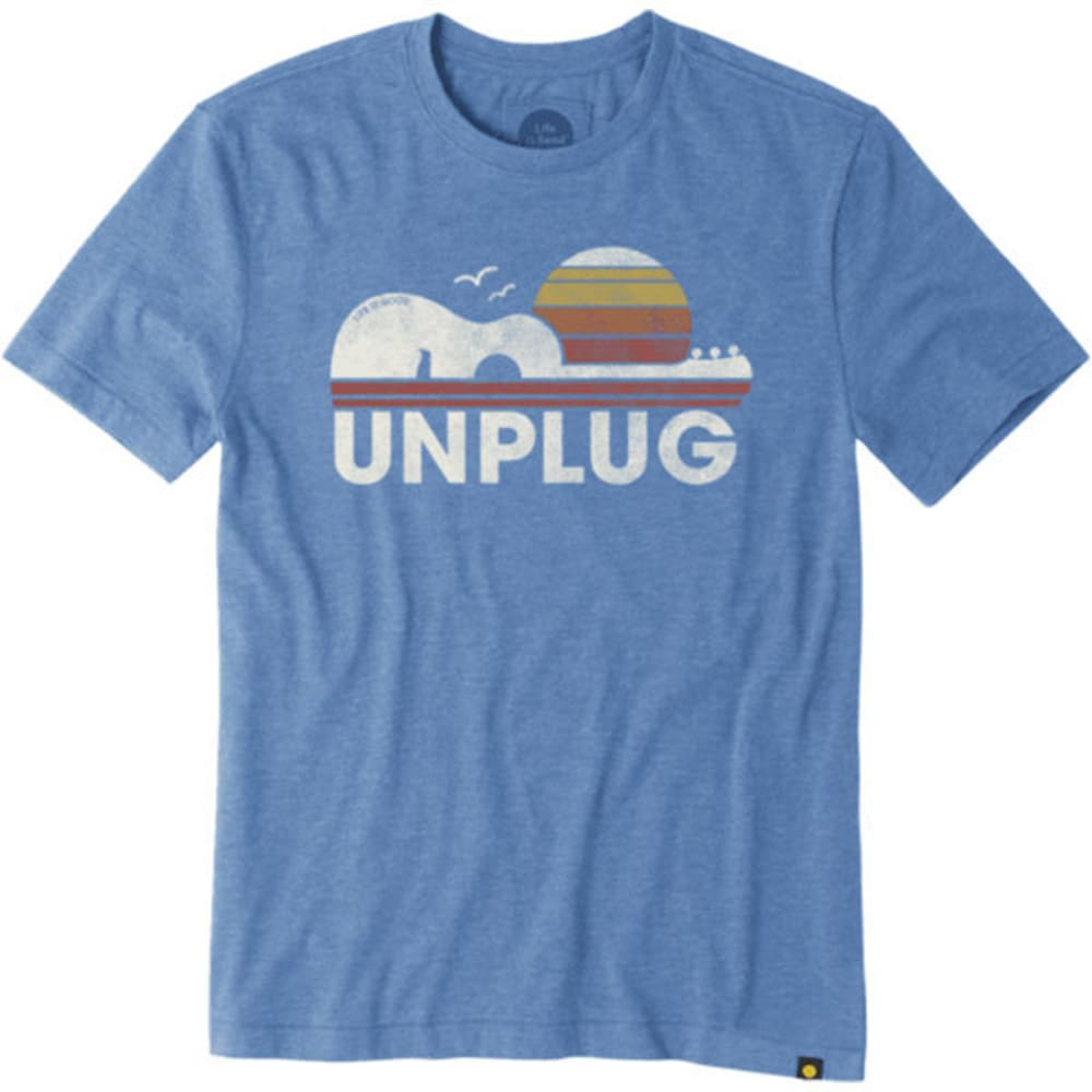 LIFE IS GOOD Men's Unplug Guitar Sun Short-Sleeve Tee - MARINA BLUE