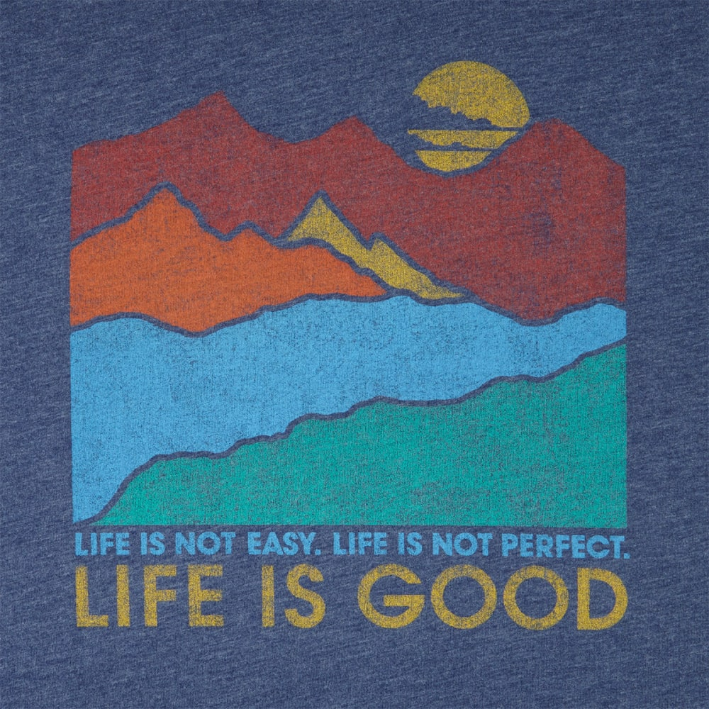LIFE IS GOOD Men's Mountains Cool Short-Sleeve Tee - DARKEST BLUE