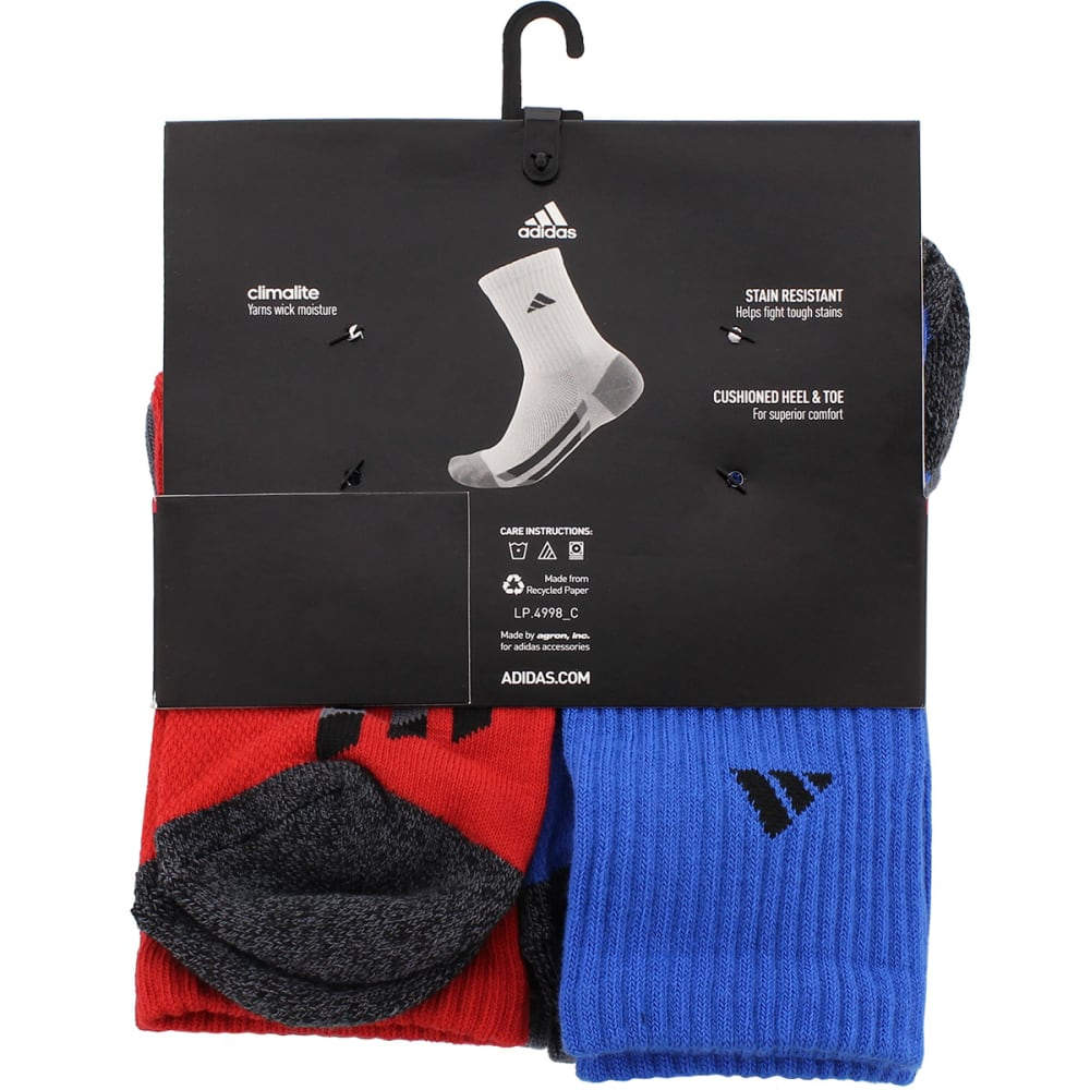 ADIDAS Boys' Crew Socks, 6 Pack - scarlet asst