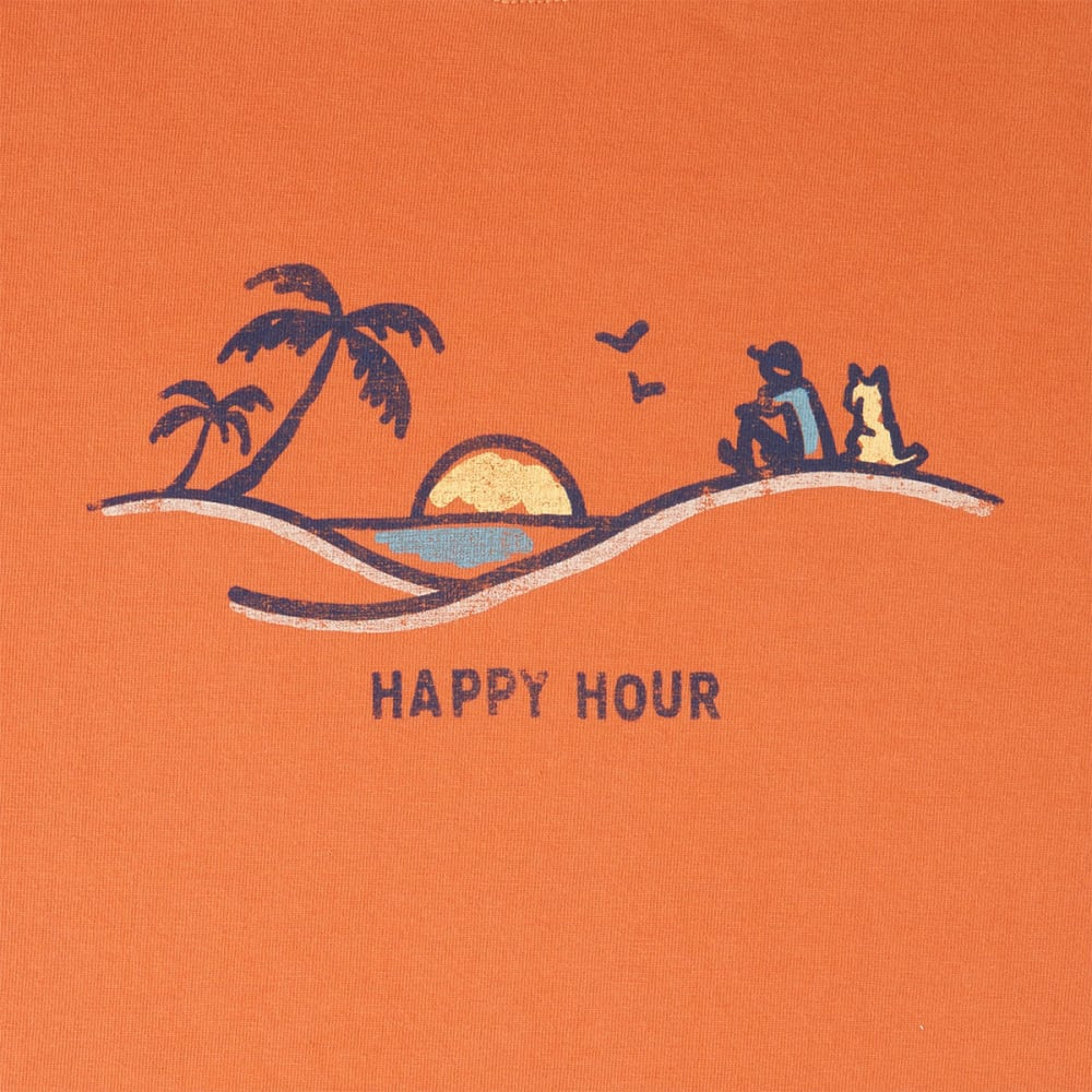 LIFE IS GOOD Men's Happy Hour Crusher Short-Sleeve Tee - DEEP ORANGE