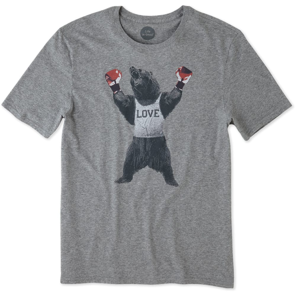 LIFE IS GOOD Men's Bear Boxer Smooth Tee - HEATHER GREY