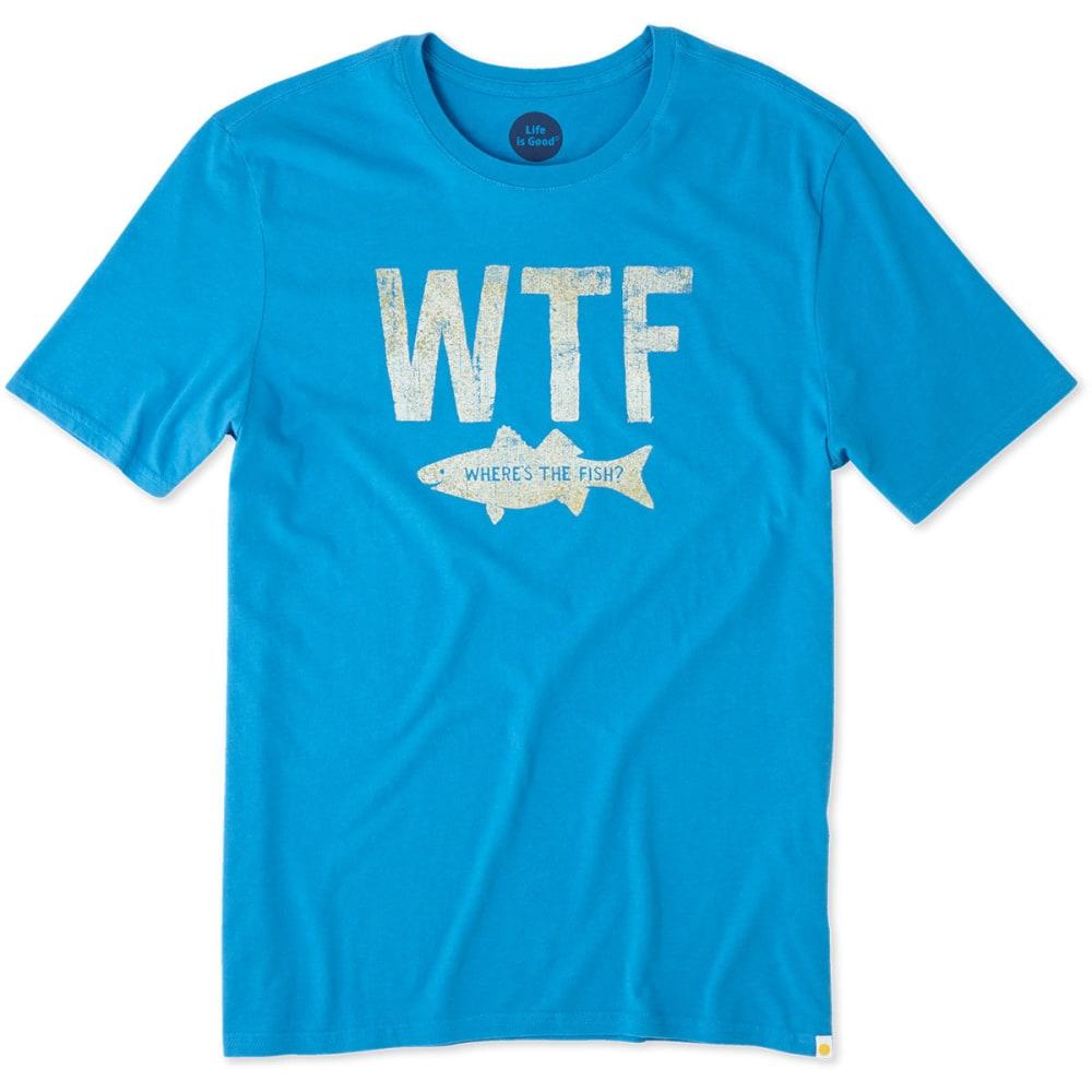 LIFE IS GOOD Men's WTF Fish Smooth Short-Sleeve Tee - MARINA BLUE