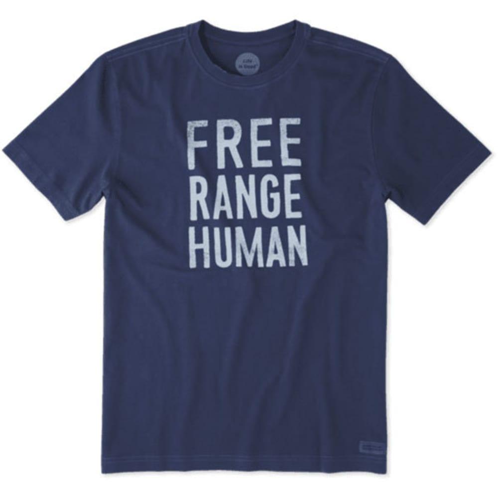 LIFE IS GOOD Men's Free Range Human Crusher Short-Sleeve Tee - DARKEST BLUE