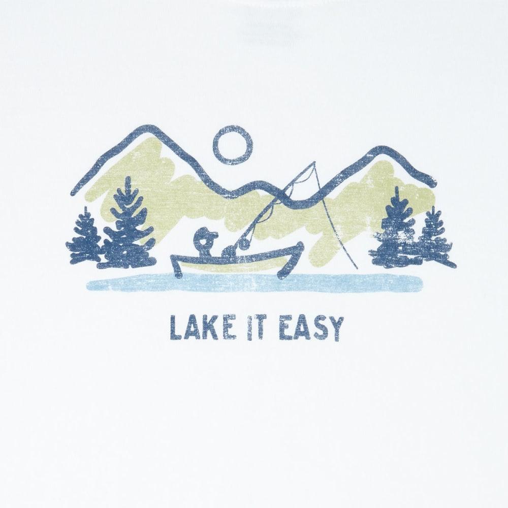 LIFE IS GOOD Men's Lake It Easy Crusher Short-Sleeve Tee - CLOUD WHITE