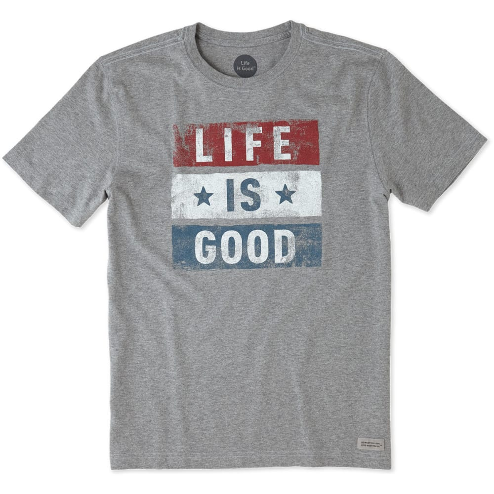 LIFE IS GOOD Men's Stars Stripes Crusher Short-Sleeve Tee - HEATHER GREY