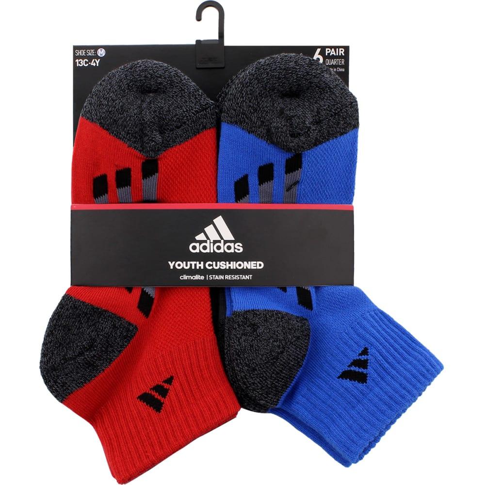 ADIDAS Boys' Quarter Length Socks, 6 Pack - SCARLETT ASST