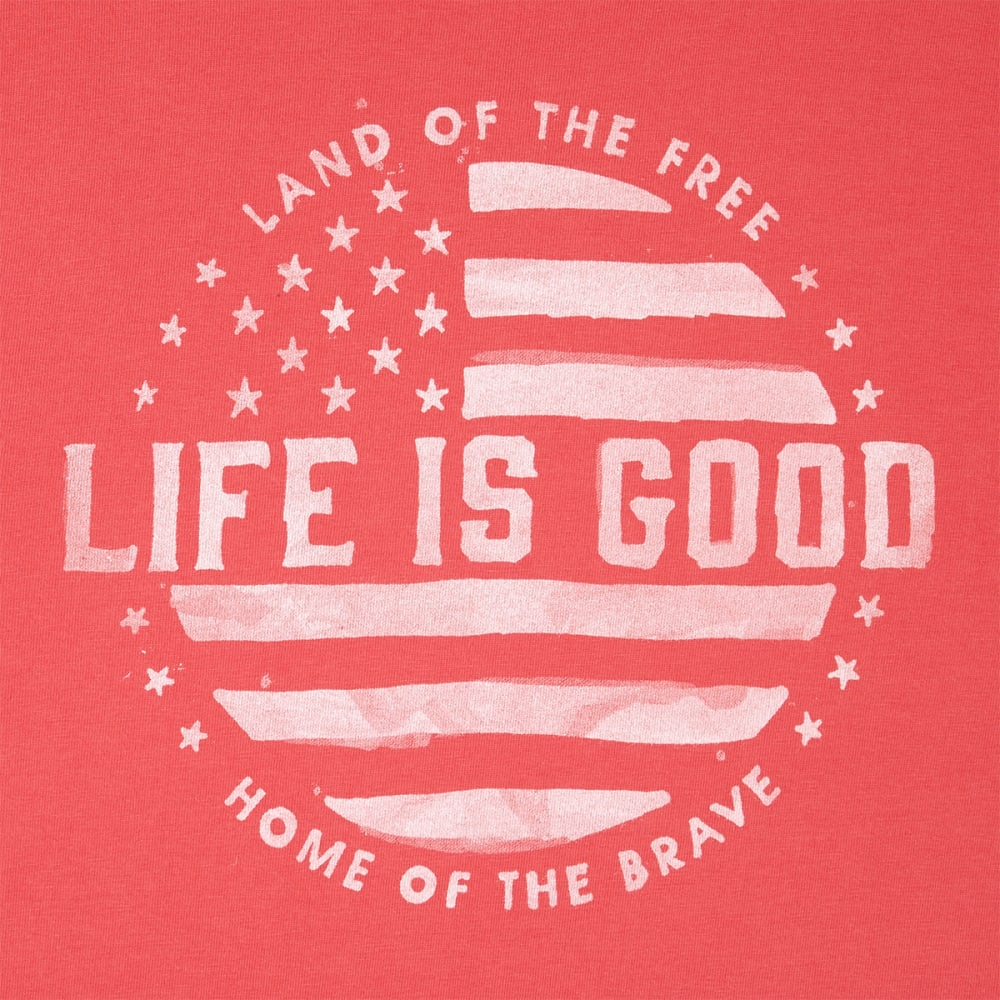 LIFE IS GOOD Men's Land Of The Free Crusher Short-Sleeve Tee - AMERICANA RED