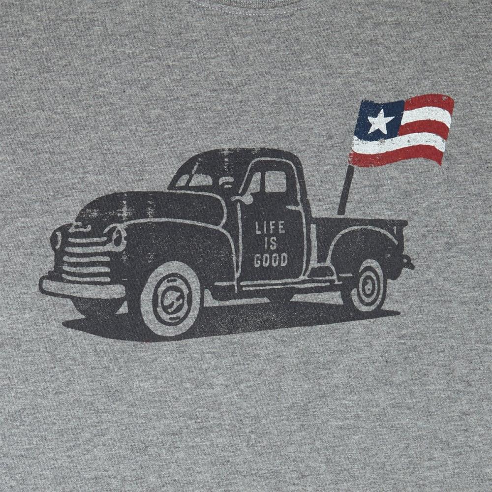 LIFE IS GOOD Men's Truck Flag Crusher Short-Sleeve Tee - HEATHER GREY