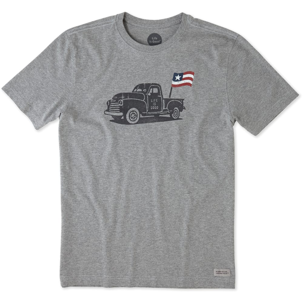 LIFE IS GOOD Men's Truck Flag Crusher Short-Sleeve Tee - HEATHER GREY