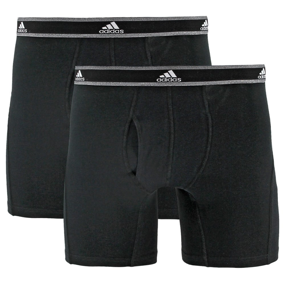 ADIDAS Men's Relaxed Performance Stretch Cotton Boxer Briefs, 2 Pack - BLACK