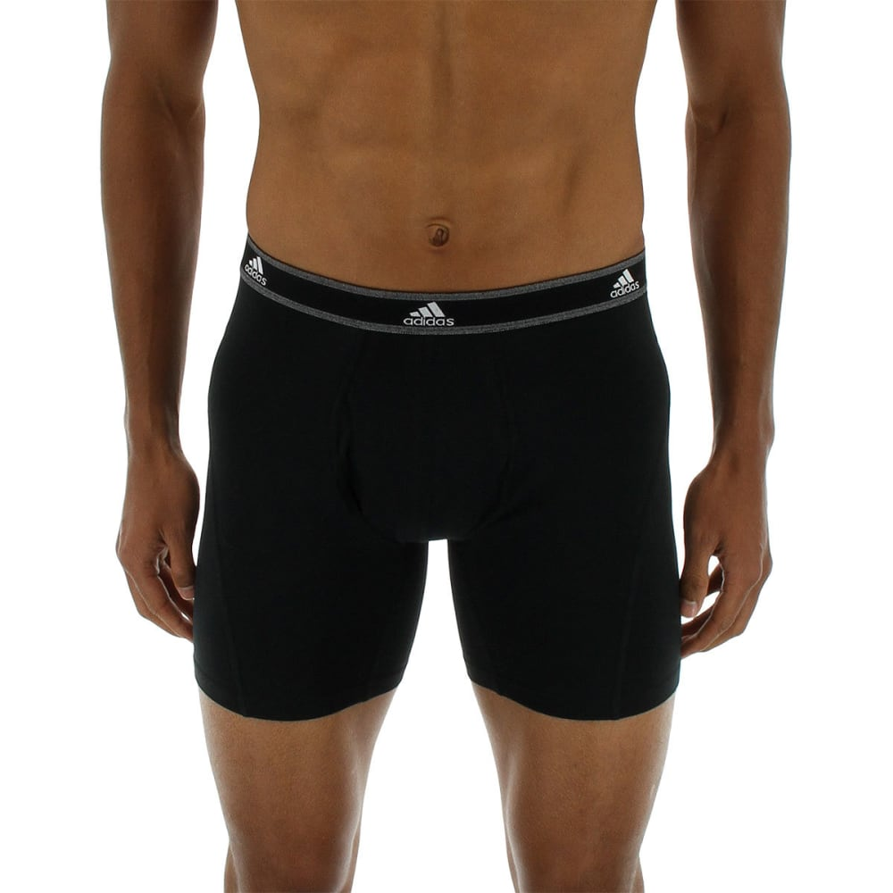 ADIDAS Men's Relaxed Performance Stretch Cotton Boxer Briefs, 2 Pack - LT ONIX/BLK