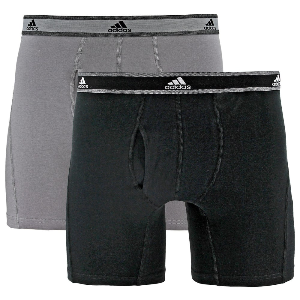 Adidas Men's Relaxed Performance Stretch Cotton Boxer Briefs, 2 Pack - Black, S