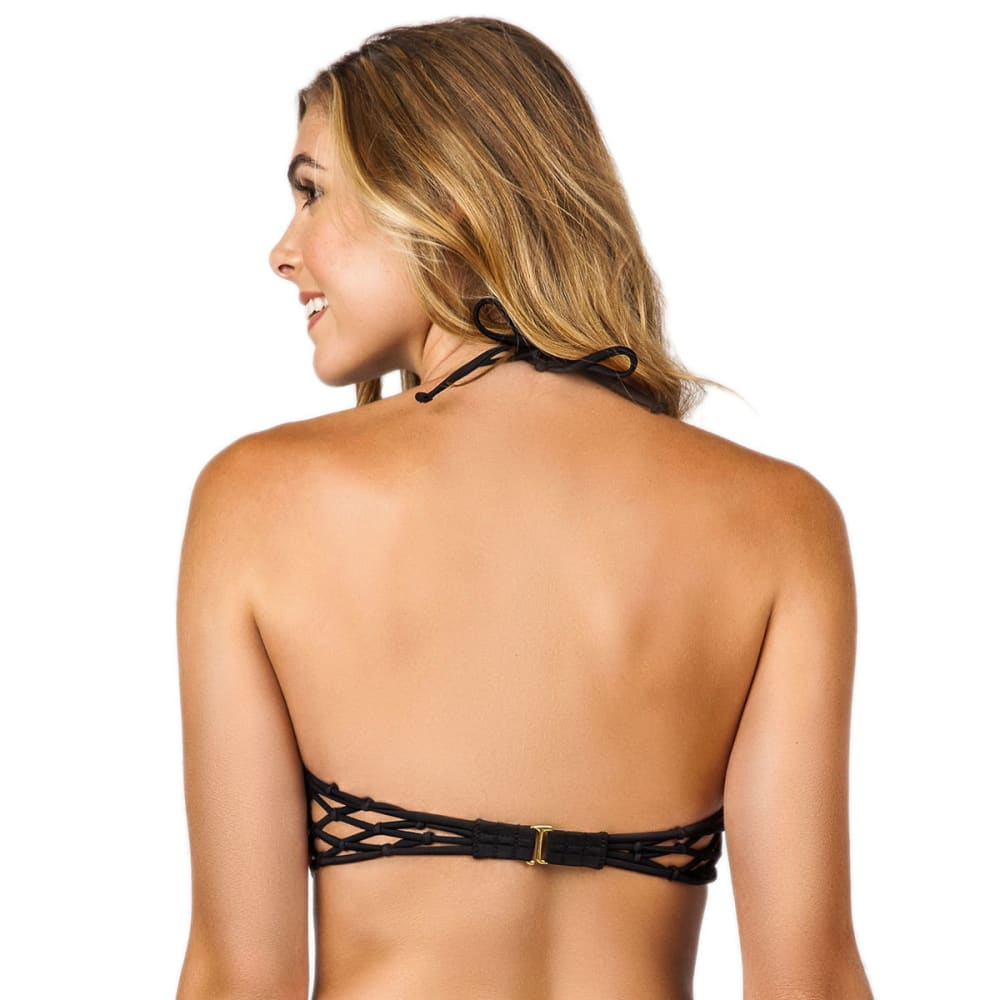 ISLAND SOUL Juniors' Enhanced Twist Macramé Back Bandeau Bikini Top - BLACK