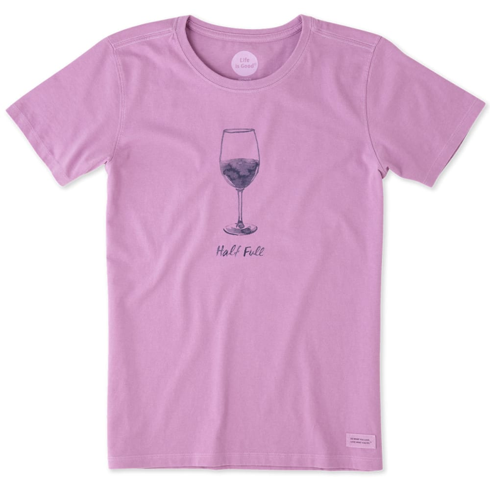 LIFE IS GOOD Women's Half-Full Wine Glass Crusher Short-Sleeve Tee - DUSTY ORCHID