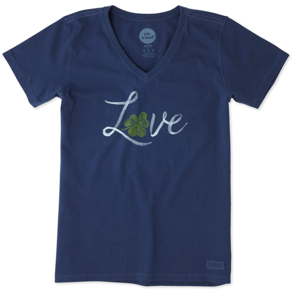 LIFE IS GOOD Women's Love Shamrock Crusher Short-Sleeve Tee - DARKEST BLUE