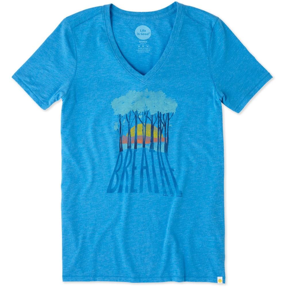 LIFE IS GOOD Women's Breathe Trees Cool V-Neck Short-Sleeve Tee - TILE BLUE