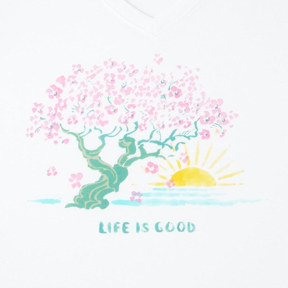 LIFE IS GOOD Women's Blossom Tree Cool V-Neck Short-Sleeve Tee - CLOUD WHITE