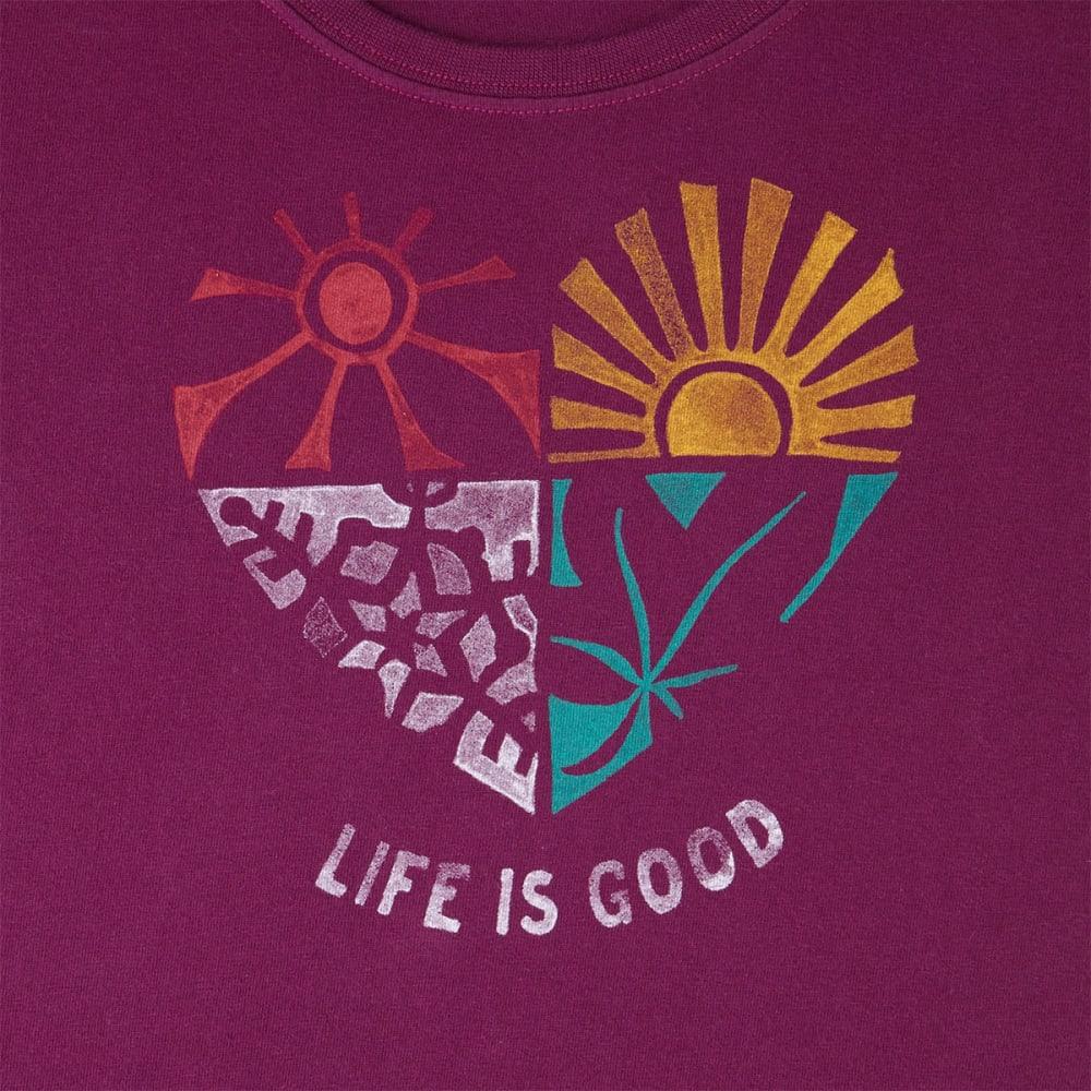LIFE IS GOOD Women's Seasons Crusher Scoop-Neck Short-Sleeve Tee - DEEP PLUM
