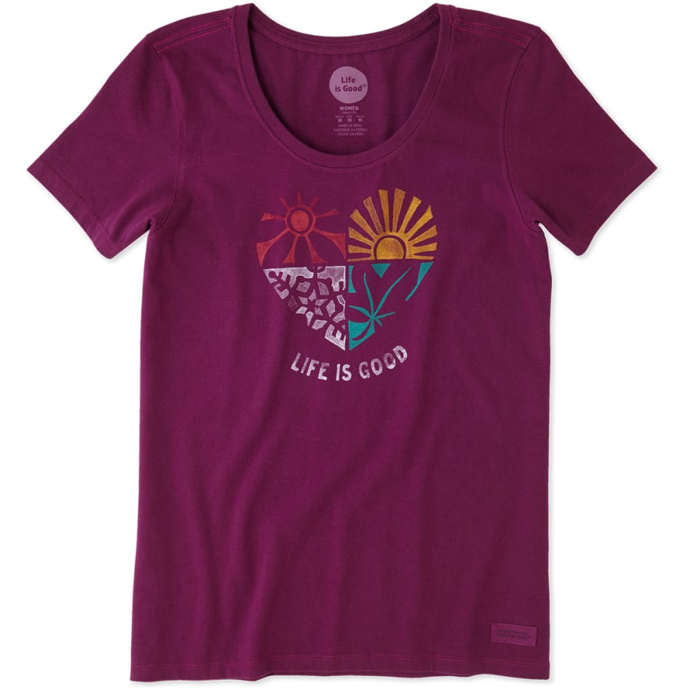 LIFE IS GOOD Women's Seasons Crusher Scoop-Neck Short-Sleeve Tee - DEEP PLUM