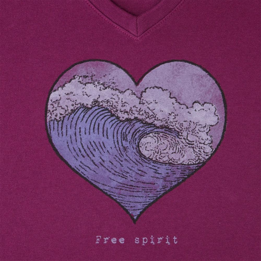 LIFE IS GOOD Women's Free Spirit Crusher V-Neck Tee - DEEP PLUM