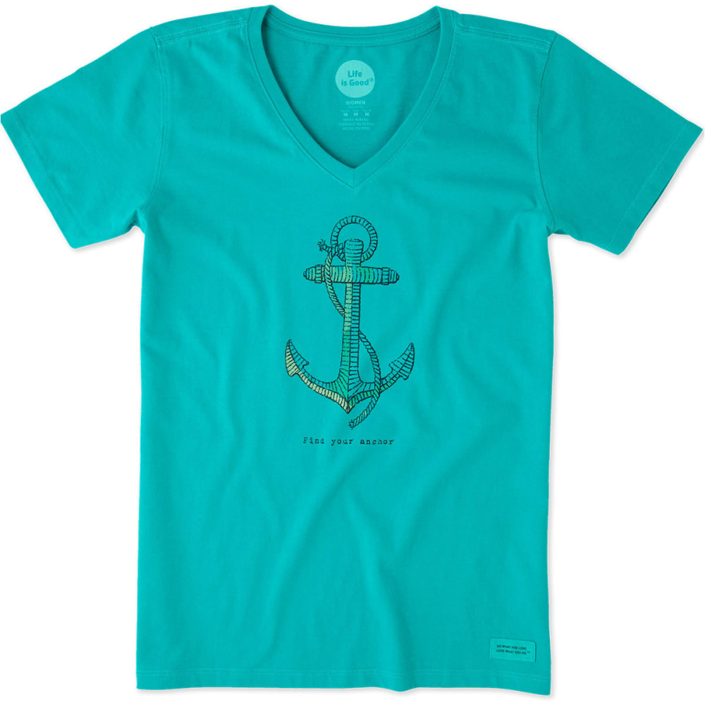 LIFE IS GOOD Women's Find Your Anchor Crusher V-Neck Tee - BRIGHT TEAL