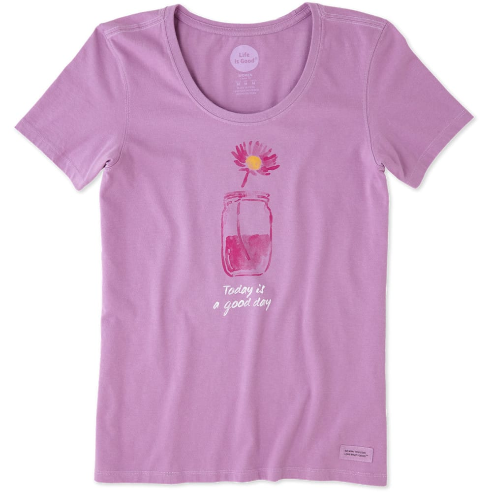 LIFE IS GOOD Women's Good Day Crusher Scoop-Neck Short-Sleeve Tee - DUSTY ORCHID