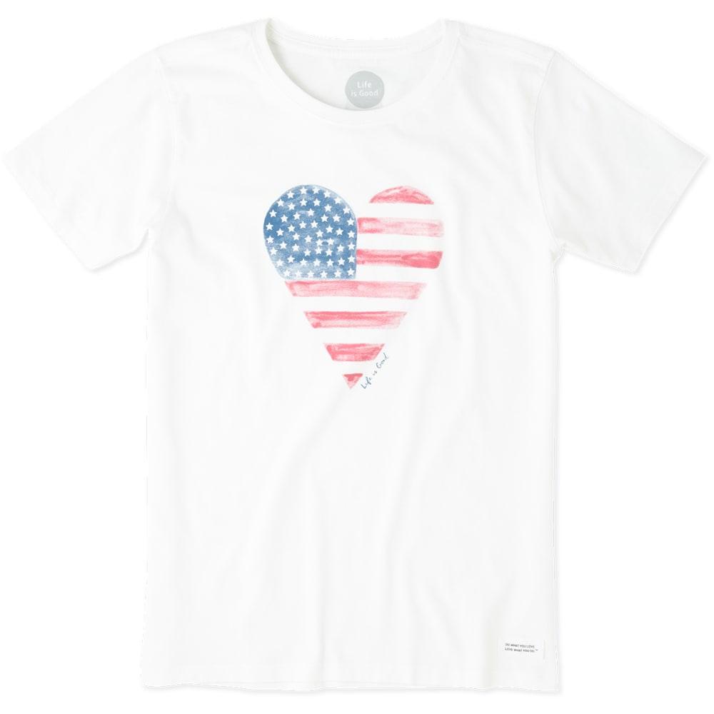 LIFE IS GOOD Women's Heart Flag Crusher Tee - CLOUD WHITE