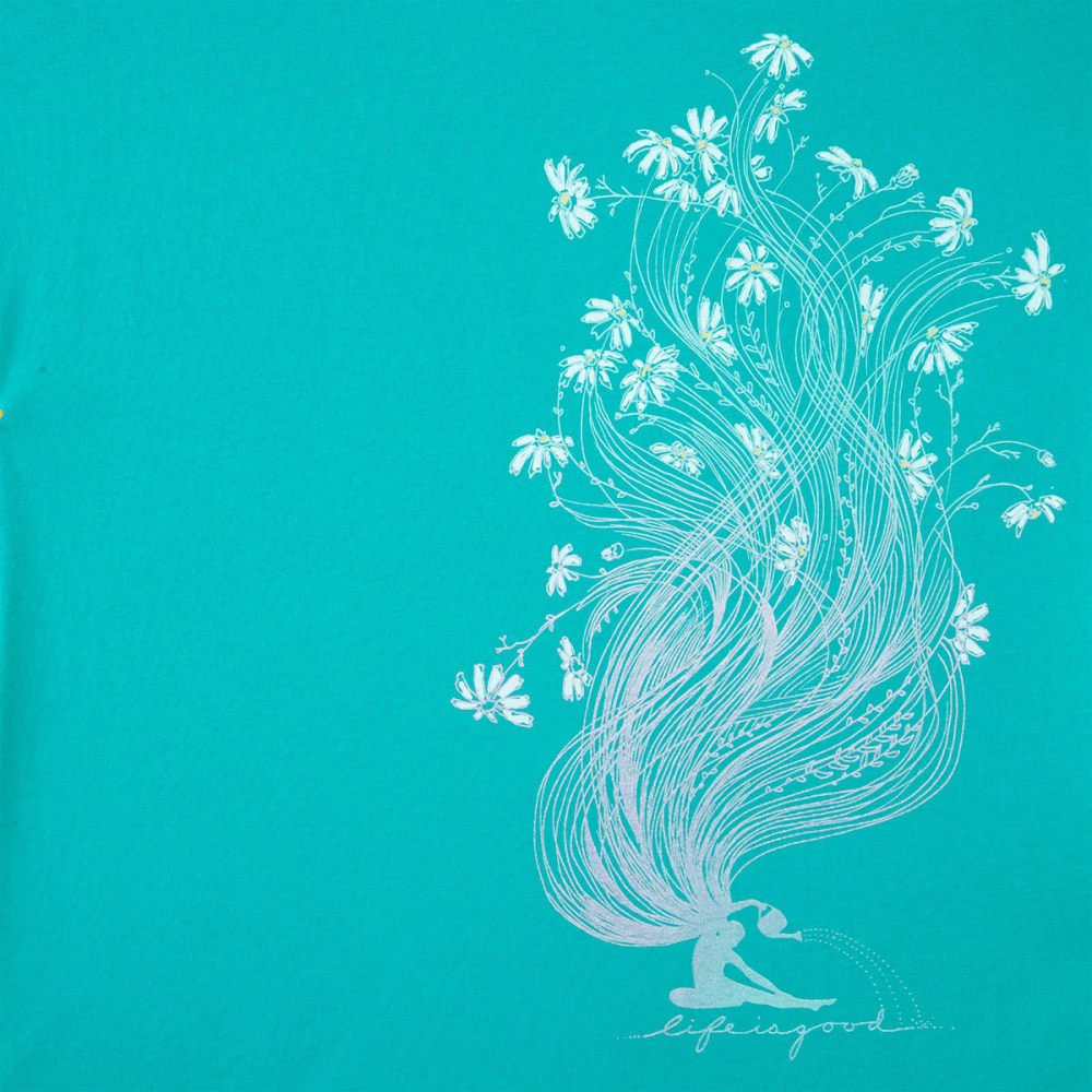LIFE IS GOOD Women's Garden Pose Smooth Short-Sleeve Tee - BRIGHT TEAL