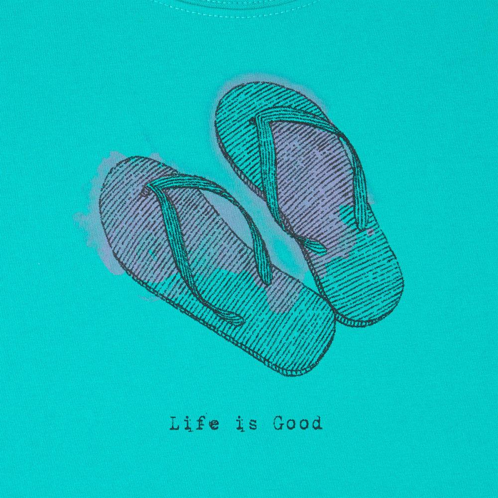 LIFE IS GOOD Women's Flip Flops Engraved Sleeveless Crusher Scoop Tank Top - BRIGHT TEAL